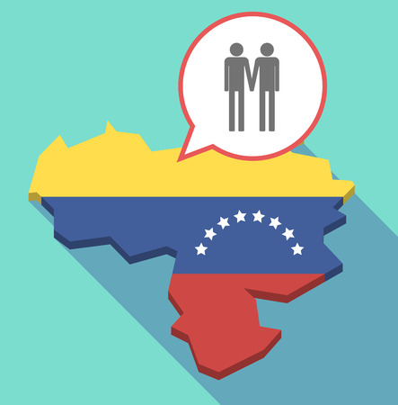 Illustration of a long shadow Venezuela map, its flag and a comic balloon with a gay couple pictogram Illusztráció