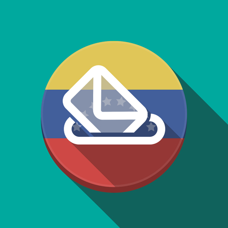 Illustration of a long shadow Venezuela rounded button with  a ballot box Illustration