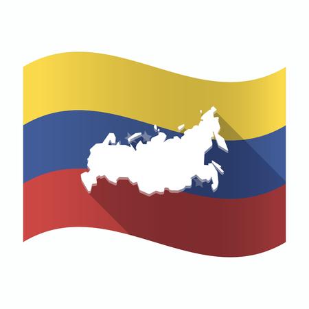 Ilustración de una bandera aislada de Venezuela ondeando con un mapa de Rusia