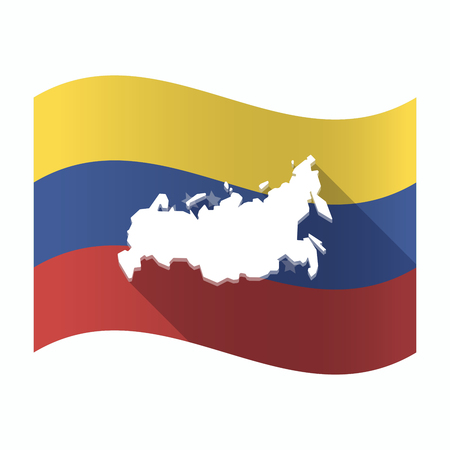 Illustration of an isolated Venezuela waving flag with  a map of Russia Illustration