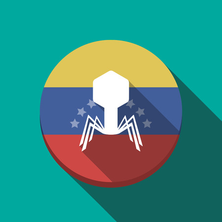 flu virus: Illustration of a long shadow Venezuela rounded button with a virus