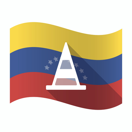 Illustration of an isolated Venezuela waving flag with a road cone