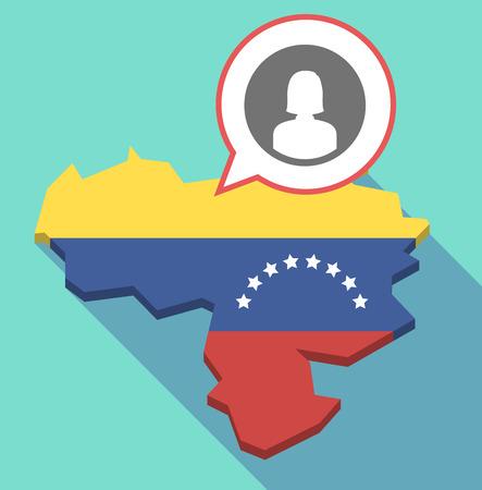 Ilustración de un mapa de Venezuela de larga sombra, su bandera y un globo de cómic con un avatar femenino