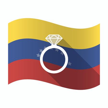 Ilustración de una bandera aislada de Venezuela ondeando con un anillo de compromiso Foto de archivo - 84198758