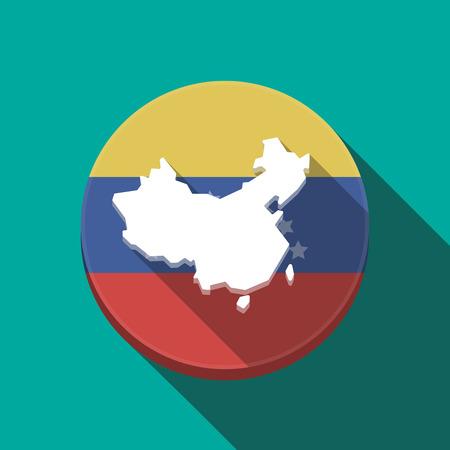 Ilustración de una larga sombra Venezuela redondeó el botón con un mapa de China