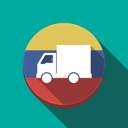 Illustration of a long shadow Venezuela rounded button with a  delivery truck Illustration