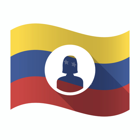 Ilustración de una bandera aislada de Venezuela con una mujer avatar