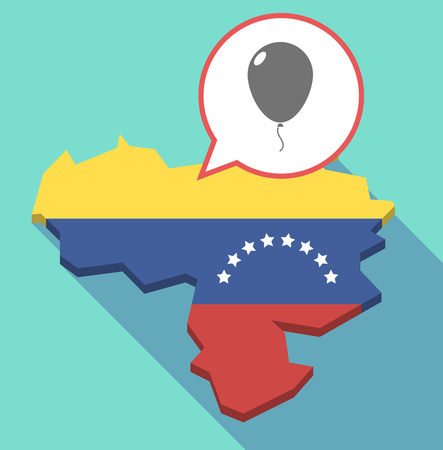 Illustration of a long shadow Venezuela map, its flag and a comic balloon with a balloon