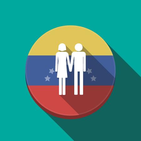 Ilustración de una larga sombra Venezuela redondeó el botón con un pictograma de pareja heterosexual Vectores