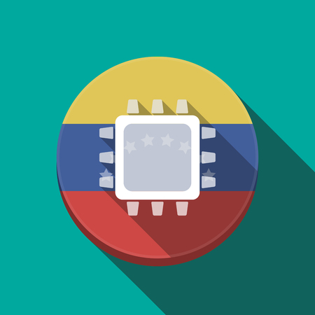 Illustration of a long shadow Venezuela rounded button with a cpu Illustration