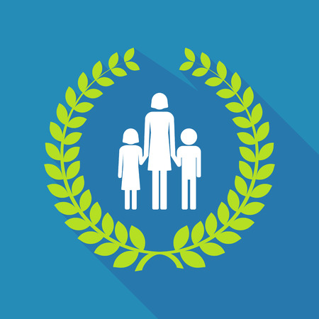 Illustration of a long shadow laurel wreath with a female single parent family pictogram Illustration