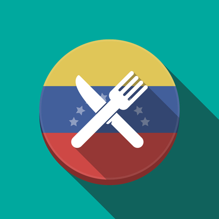 Illustration of a long shadow Venezuela rounded button with a knife and a fork Çizim