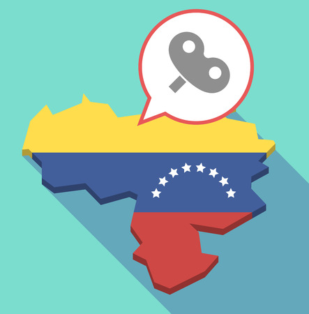 Illustration of a long shadow Venezuela map, its flag and a comic balloon with a toy crank