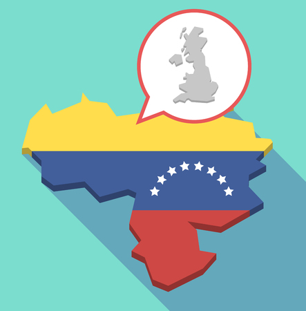 Illustration of a long shadow Venezuela map, its flag and a comic balloon with  a map of the UK