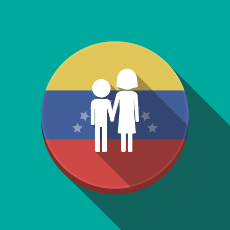 Illustration of a long shadow Venezuela rounded button with a childhood pictogram Illustration
