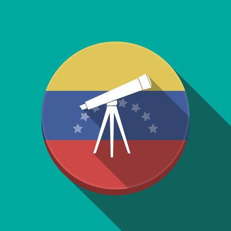 Illustration of a long shadow Venezuela rounded button with a telescope Illustration