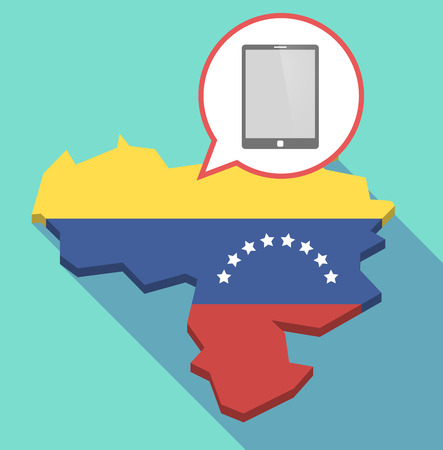 Illustration of a long shadow Venezuela map, its flag and a comic balloon with a tablet computer Illustration
