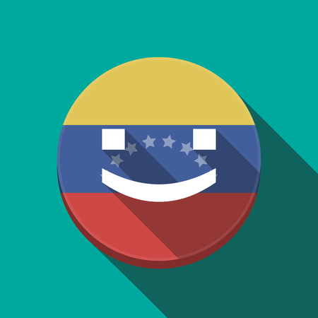Illustration of a long shadow Venezuela rounded button with a smile text face Illustration