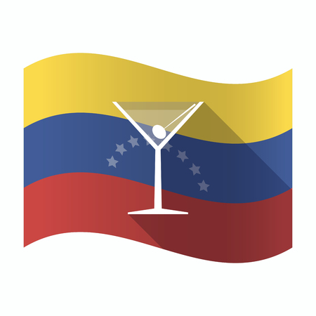 Illustration of an isolated Venezuela waving flag with a cocktail glass
