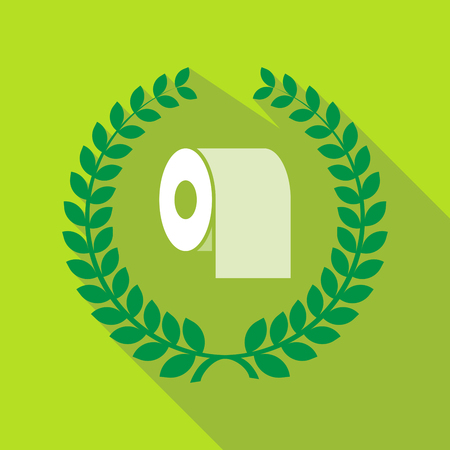 Illustration of a long shadow laurel wreath with a toilet paper roll Illustration