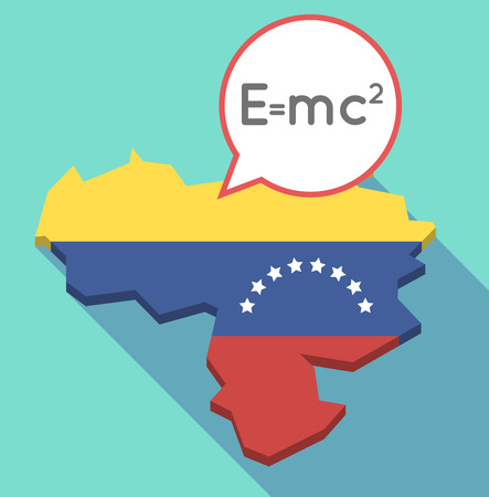 Illustration of a long shadow Venezuela map, its flag and a comic balloon with the Theory of Relativity formula