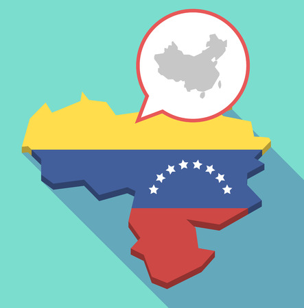 Illustration of a long shadow Venezuela map, its flag and a comic balloon with  a map of China