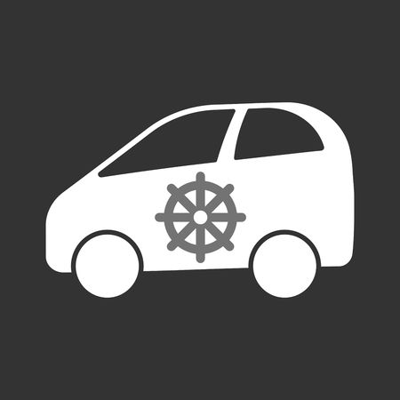 Illustration of an isolated electric car with a dharma chakra sign