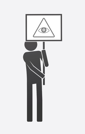 Illustration of an isolated demonstrator bringing a banner with an all seeing eye