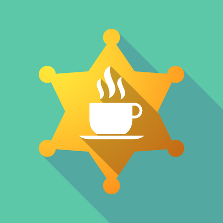 Illustration of a long shadow sheriff star with a cup of coffee