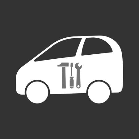 Illustratie van een geïsoleerde elektrische auto met een hulpmiddelreeks