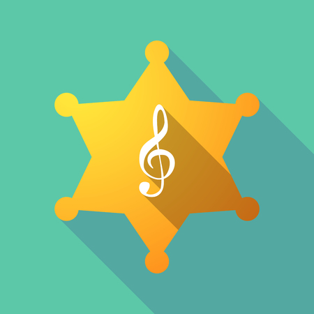 g clef: Illustration of a long shadow sheriff star with a g clef Illustration