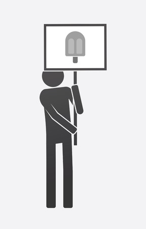 Illustration of an isolated demonstrator bringing a banner with an ice cream Illustration