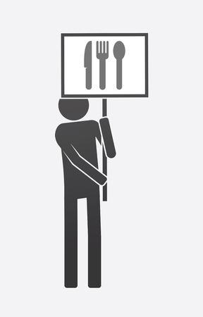 Illustration of an isolated demonstrator bringing a banner with cutlery