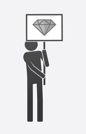 Illustration of an isolated demonstrator bringing a banner with a diamond