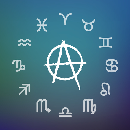 Horoscope signs circle with an anarchy sign