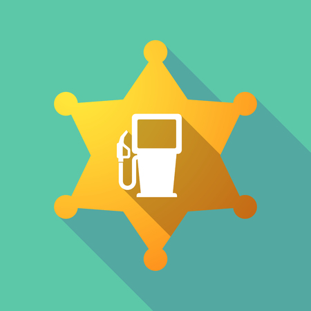 Illustration of a long shadow sheriff star with a gas station. Illustration
