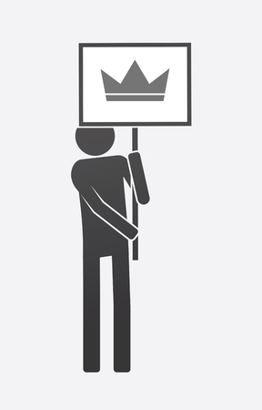 Illustration of an isolated demonstrator bringing a banner with a crown Illustration