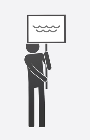 Illustration of an isolated demonstrator bringing a banner with a water sign.