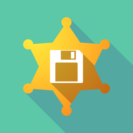 Illustration of a long shadow sheriff star with a floppy disk.