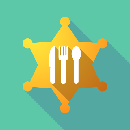 Illustration of a long shadow sheriff star with cutlery.