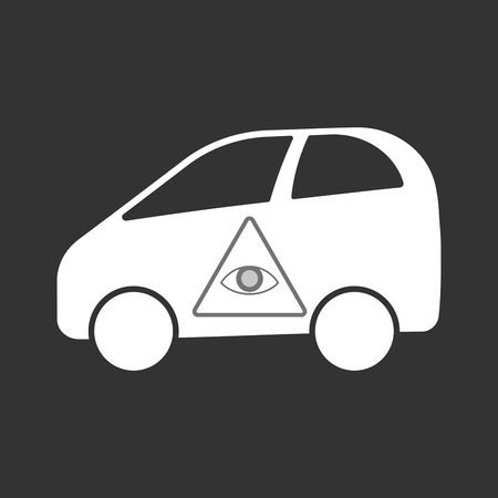 Illustration of an isolated electric car with an all seeing eye.