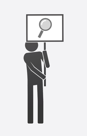 Illustration of an isolated demonstrator bringing a banner with a magnifier