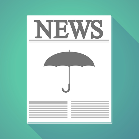 Illustration of a long shadow newspaper with an umbrella