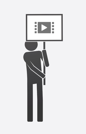 Illustration of an isolated demonstrator bringing a banner with a multimedia sign