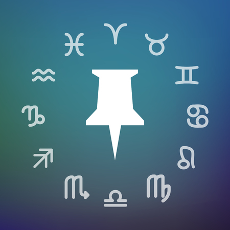 Horoscope signs in circle with a push pin