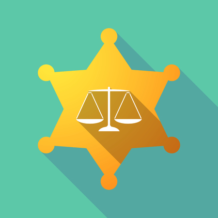 Illustration of a long shadow sheriff star with a justice weight scale sign. Illustration