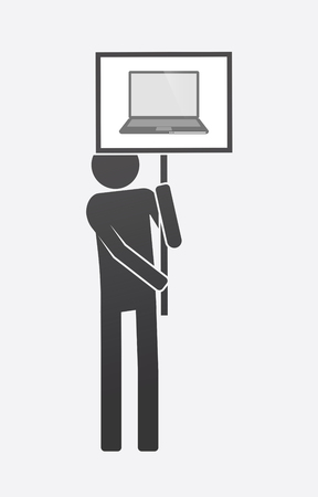 A demonstrator holding a sign with a laptop. Illustration