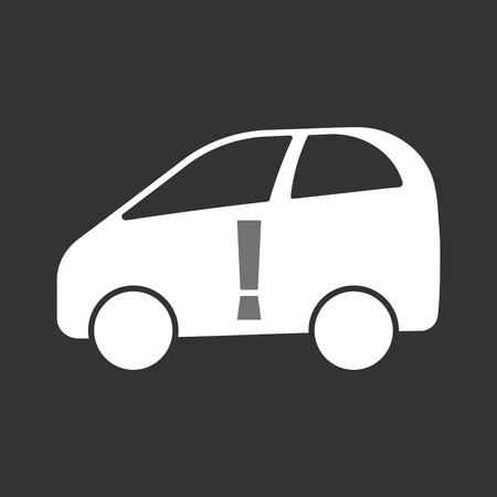 감탄 부호가있는 격리 된 전기 자동차의 그림
