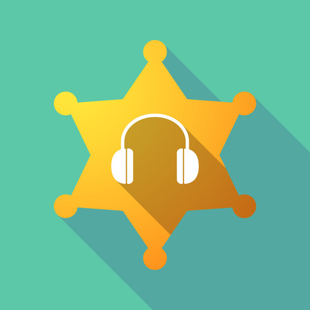 Illustration of a long shadow sheriff star with a earphones