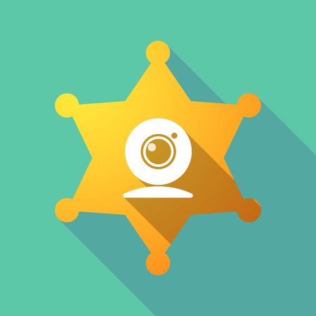 Illustration of a long shadow sheriff star with a web cam.